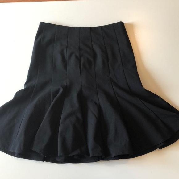 Diane Von Furstenberg Skirt Wool Black Flare Size 8